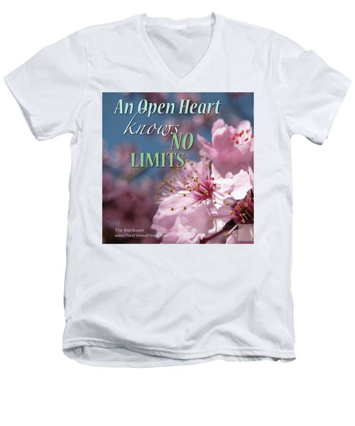 An Open Heart Knows No Limits Men's V-Neck T-Shirt by Mark David Gerson