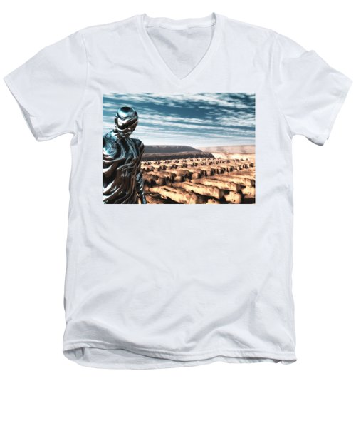 Men's V-Neck T-Shirt featuring the digital art An Untitled Future by John Alexander