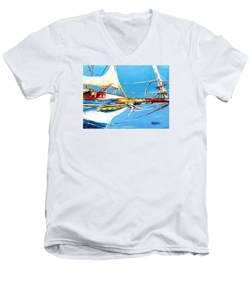 Men's V-Neck T-Shirt featuring the painting Anchored 2 by Marti Green
