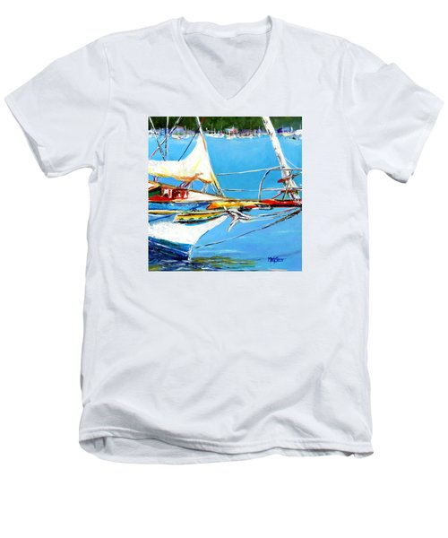 Men's V-Neck T-Shirt featuring the painting Anchored by Marti Green