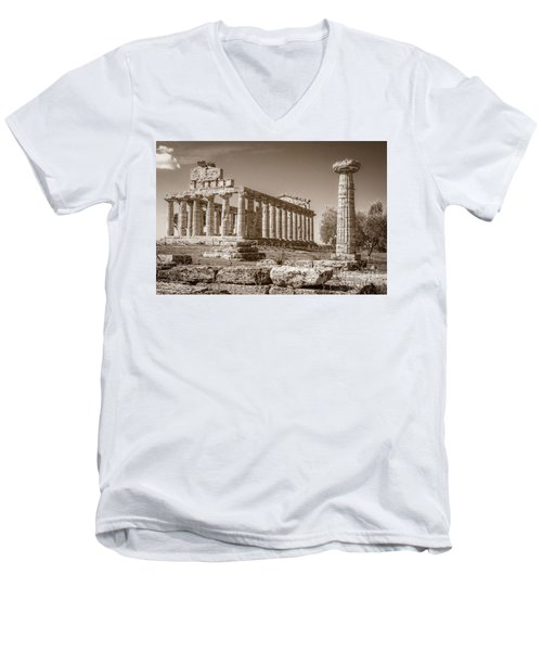 Ancient Paestum Architecture Men's V-Neck T-Shirt