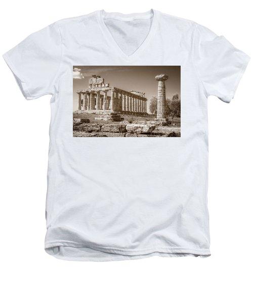 Ancient Paestum Architecture Men's V-Neck T-Shirt