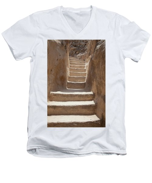 Ancient Stairs Men's V-Neck T-Shirt by Yoel Koskas