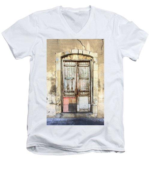 Ancient Wooden Door In Old Town. Limassol. Cyprus Men's V-Neck T-Shirt