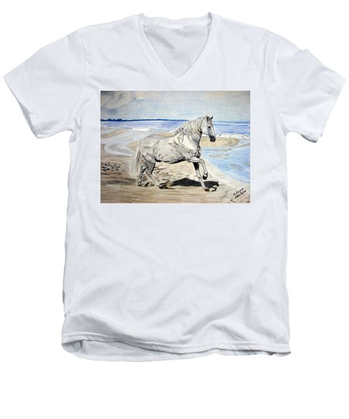 Men's V-Neck T-Shirt featuring the drawing Andalusian Horse by Melita Safran