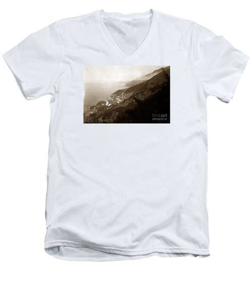 Anderson Creek Labor Camp Big Sur April 3 1931 Men's V-Neck T-Shirt by California Views Mr Pat Hathaway Archives