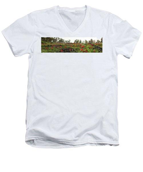 Anemones Forest Panorama Men's V-Neck T-Shirt by Yoel Koskas