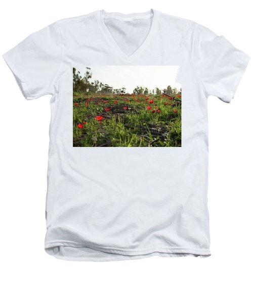 Anemones Forest Men's V-Neck T-Shirt by Yoel Koskas