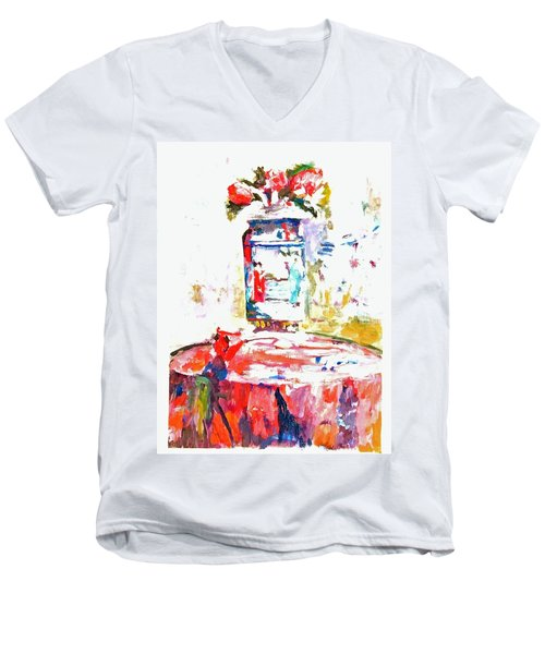 Anemones In A Chinese Vase After Edouard Vuillard Men's V-Neck T-Shirt
