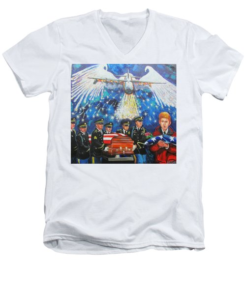 Angel Flight Men's V-Neck T-Shirt by Ken Pridgeon