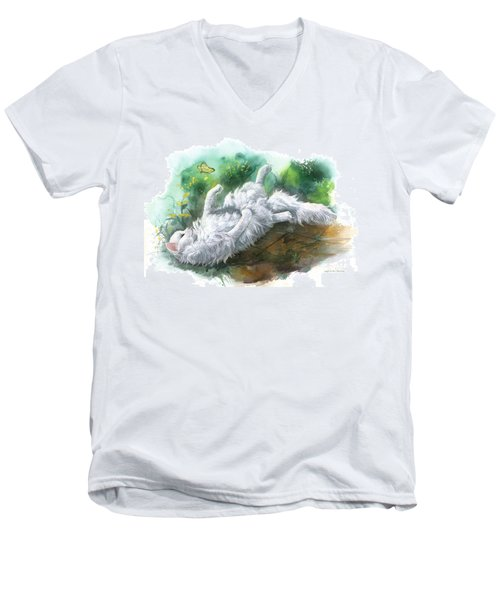 Men's V-Neck T-Shirt featuring the painting Angel In The Morning by Sherry Shipley