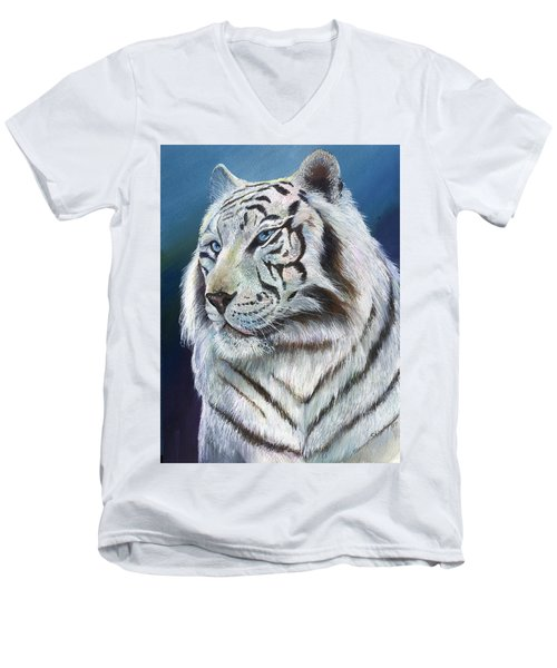 Men's V-Neck T-Shirt featuring the painting Angel The White Tiger by Sherry Shipley
