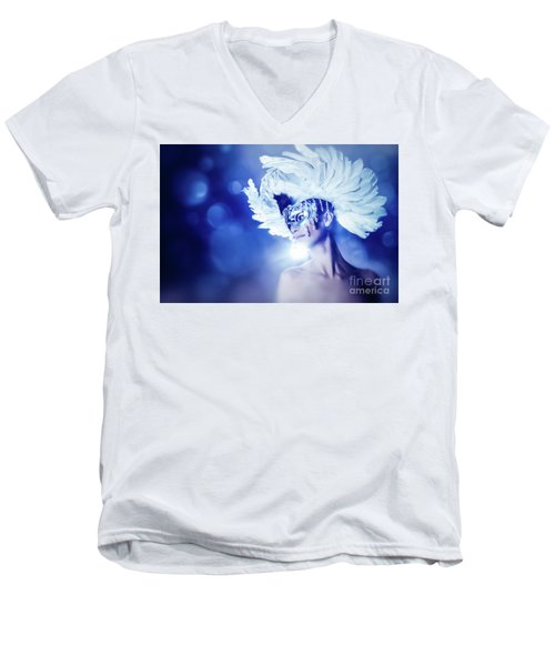 Men's V-Neck T-Shirt featuring the photograph Angel Wings Venetian Mask With Feathers Portrait by Dimitar Hristov