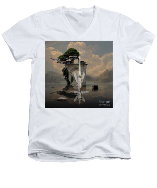 Men's V-Neck T-Shirt featuring the digital art Angel With Life Elixir by Alexa Szlavics