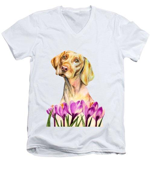 Angelic - Vizsla Dog And Crocus Watercolor Painting Men's V-Neck T-Shirt
