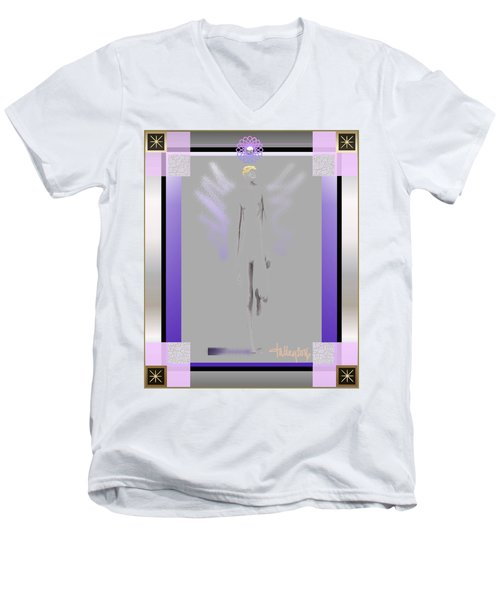 Men's V-Neck T-Shirt featuring the digital art Angels - Archangel Michael by Larry Talley