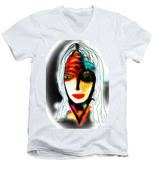 Men's V-Neck T-Shirt featuring the mixed media Angie by Ann Calvo