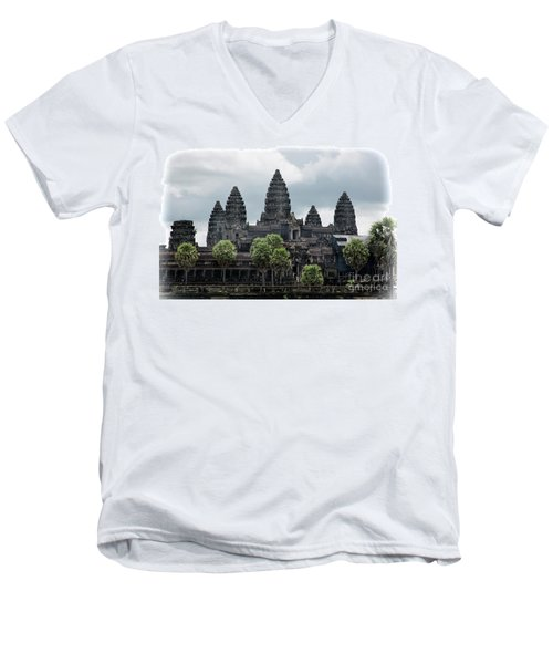 Angkor Wat Focus  Men's V-Neck T-Shirt by Chuck Kuhn