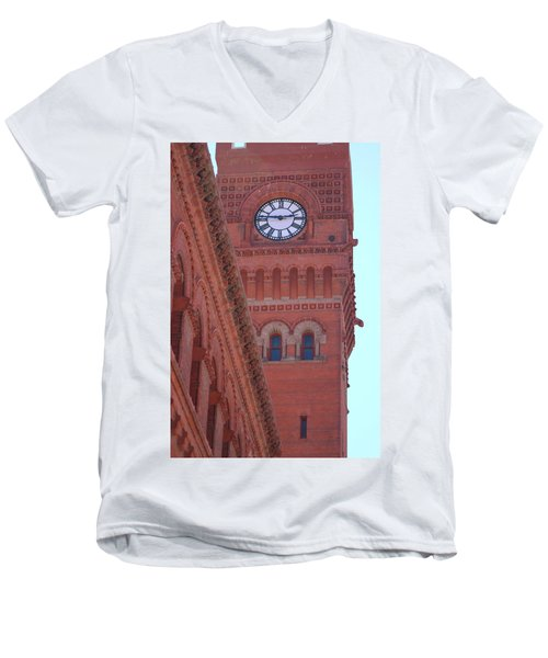 Angled View Of Clocktower At Dearborn Station Chicago Men's V-Neck T-Shirt