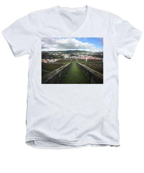 Angra Do Heroismo From The Fortress Of Sao Joao Baptista Men's V-Neck T-Shirt