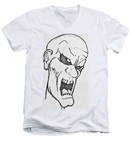 Men's V-Neck T-Shirt featuring the drawing Angry Cartoon Zombie by Yshua The Painter