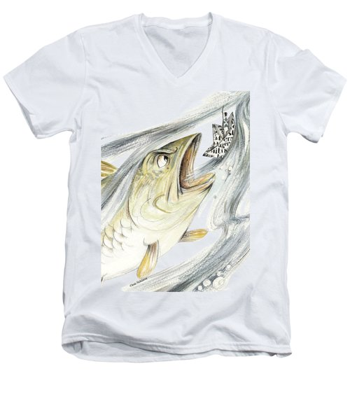 Angry Fish Ready To Swallow Tin Soldier's Paper Boat - Horizontal - Fairy Tale Illustration Fragment Men's V-Neck T-Shirt by Elena Abdulaeva