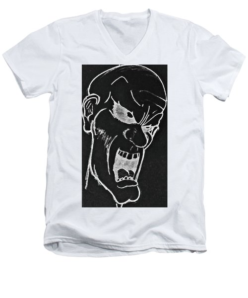 Men's V-Neck T-Shirt featuring the drawing Angry Zombie In Negative by Yshua The Painter