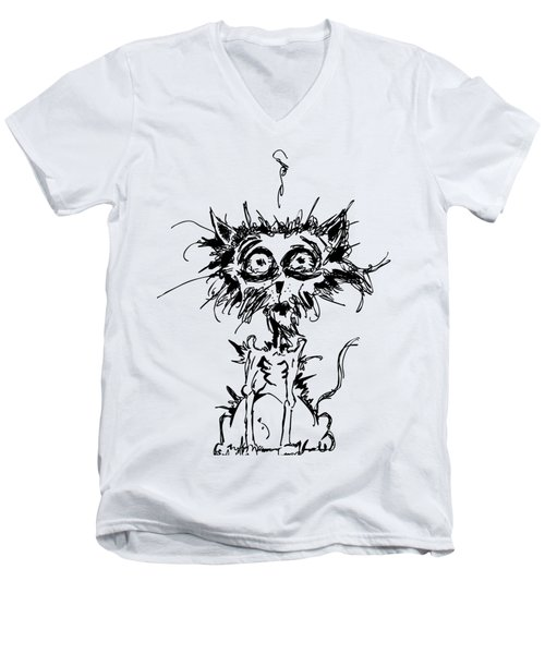 Angst Cat Men's V-Neck T-Shirt by Nicholas Ely