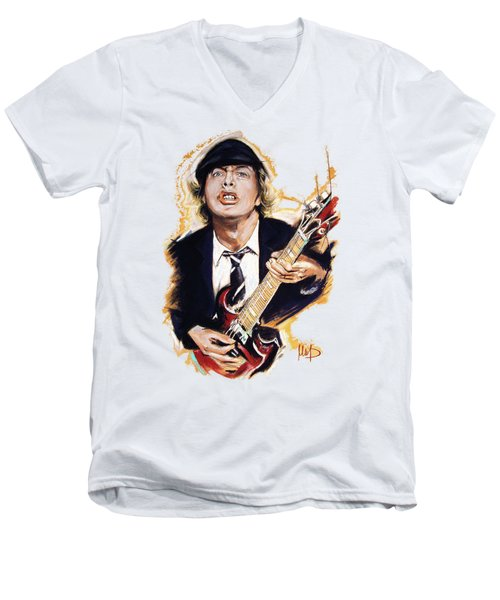 Angus Young Men's V-Neck T-Shirt by Melanie D