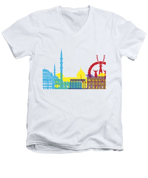 Ankara Skyline Pop Men's V-Neck T-Shirt by Pablo Romero