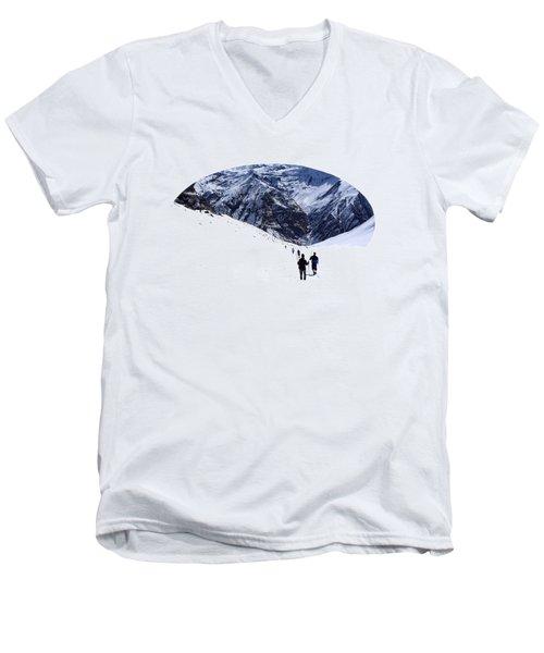 Men's V-Neck T-Shirt featuring the photograph Annapurna Sanctuary by Aidan Moran