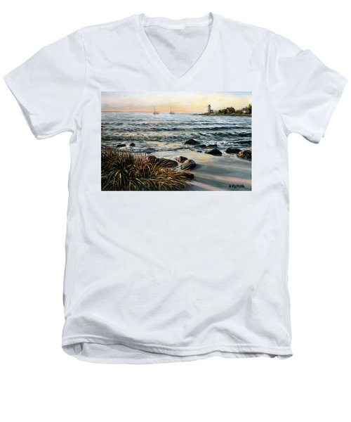 Annisquam Beach And Lighthouse Men's V-Neck T-Shirt