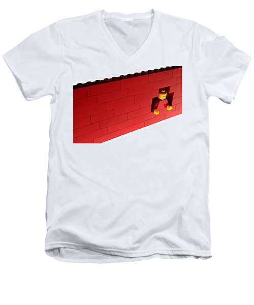 Another Brick In The Wall Men's V-Neck T-Shirt by Mark Fuller