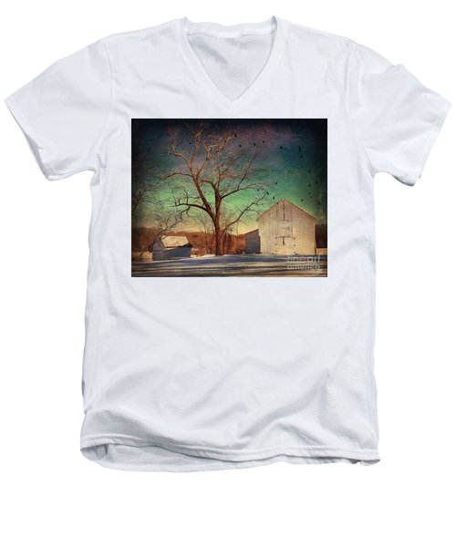 Another Winter Day  Men's V-Neck T-Shirt by Delona Seserman