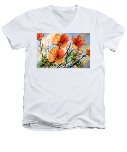 Antelope Valley Poppy Fields Men's V-Neck T-Shirt