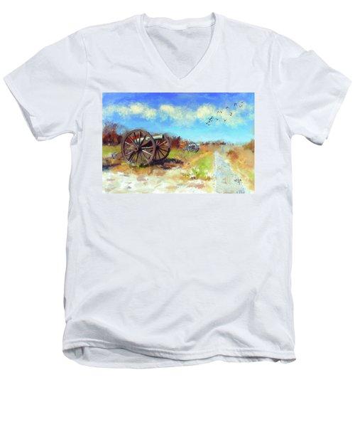 Men's V-Neck T-Shirt featuring the digital art Antietam Under Blue Skies  by Lois Bryan