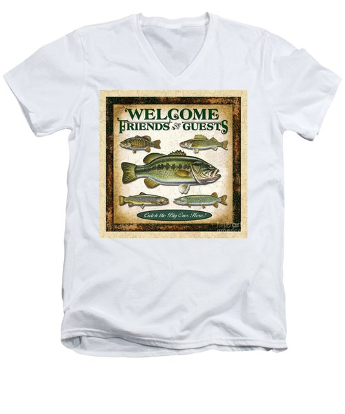 Men's V-Neck T-Shirt featuring the painting Antique Lure Fish Panel Three by JQ Licensing Jon Q Wright