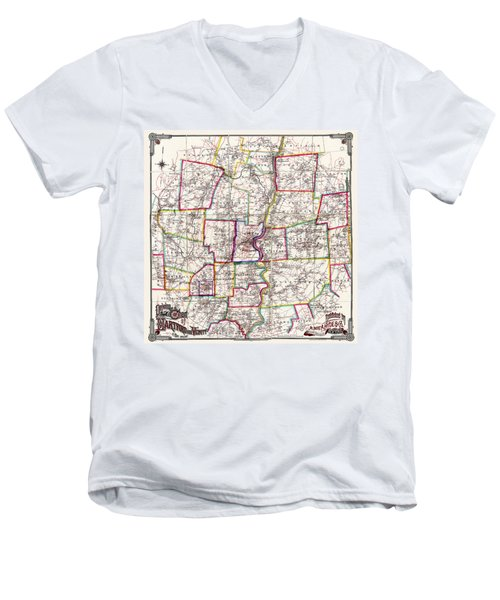 Horse Carriage Era Driving Map Of Hartford Connecticut Vicinity 1884 Men's V-Neck T-Shirt by Phil Cardamone