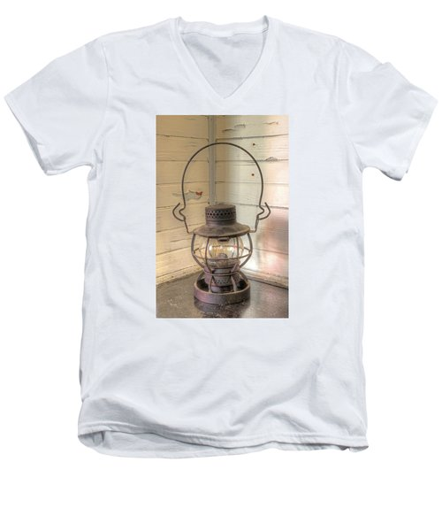 Men's V-Neck T-Shirt featuring the photograph Antique Weighted Kerosene Lantern by Gary Slawsky