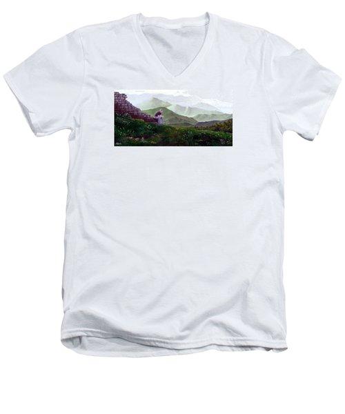 Antonio Atop La Rocca De Monte Calvo Men's V-Neck T-Shirt by Albert Puskaric