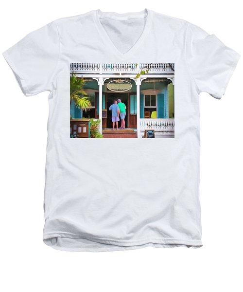 Anybody Home Men's V-Neck T-Shirt by Judy Kay