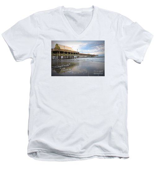 Men's V-Neck T-Shirt featuring the photograph Apache Pier by Shelia Kempf