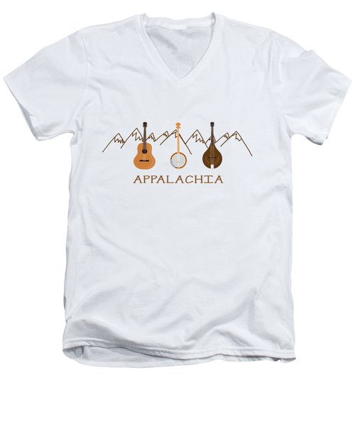 Appalachia Mountain Music Men's V-Neck T-Shirt by Heather Applegate