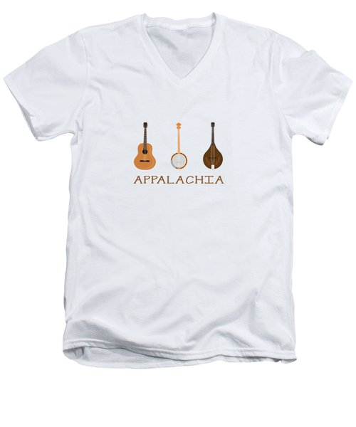 Appalachia Music Men's V-Neck T-Shirt by Heather Applegate