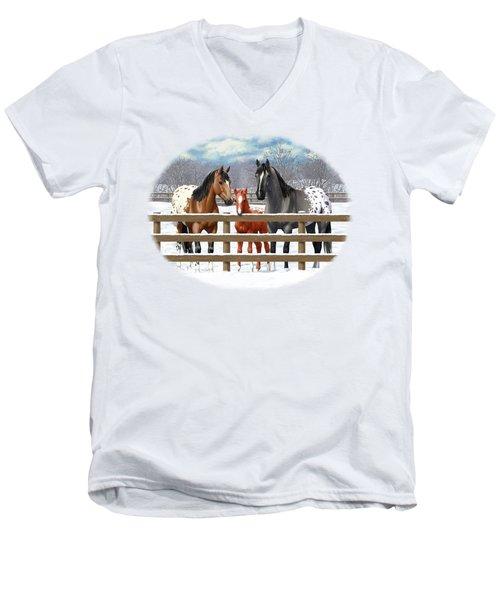 Appaloosa Horses In Winter Ranch Corral Men's V-Neck T-Shirt