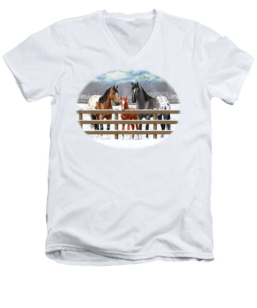 Appaloosa Horses In Winter Ranch Corral Men's V-Neck T-Shirt