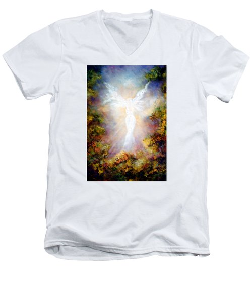 Men's V-Neck T-Shirt featuring the painting Apparition II by Marina Petro