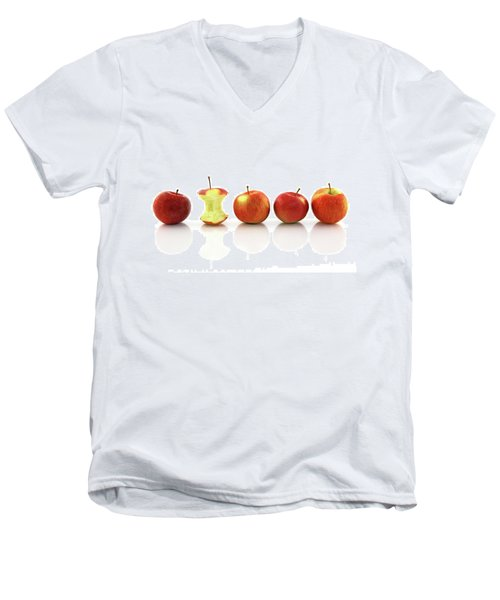 Apple Core Among Whole Apples Men's V-Neck T-Shirt by GoodMood Art