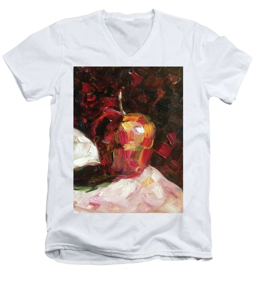 Apple  Men's V-Neck T-Shirt by Roxy Rich