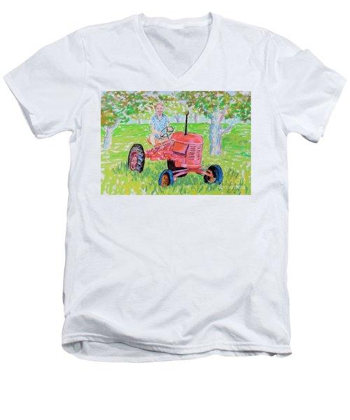 Apple Tree Farmer Sean Smith Men's V-Neck T-Shirt by Rae  Smith